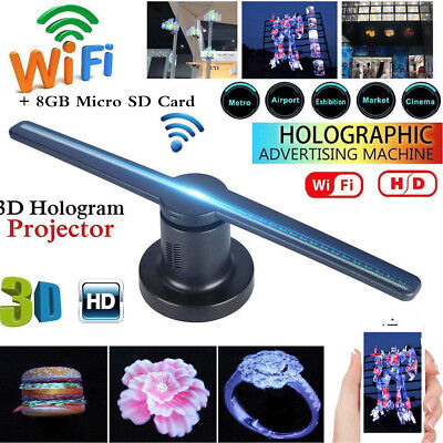 3D Hologram Projector LED WIFI 176° Fan Exhibition Projector with 8GB TF/SD Card