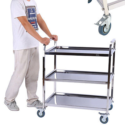 3Tier Wine Drink Food Hotel Restaurant Stainless Trolley Storage Dining Catering