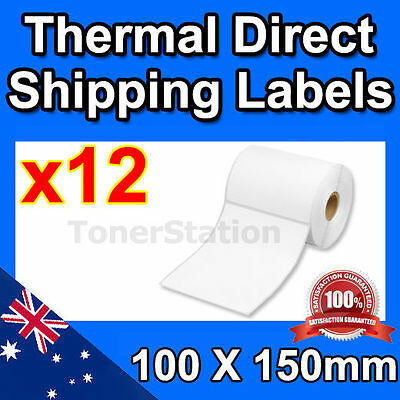 12 x Thermal Direct Shipping Labels Rolls 100mm X 150mm (Total=4200) 350/Rolls