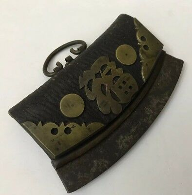 Antique Original Leather Tinder Flint Pouch Striker Chuckmuck Chinese Character