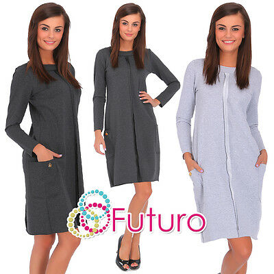 ca878312904f3 Femmes Robe Pull avec Poches Tunique Casual Manches Longues Grande Tailles  8-18