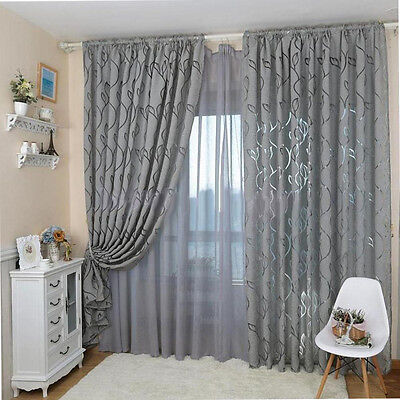 GT- Leaf Pattern Window Sheer Curtain for Bedroom Living Room 100x270cm Peachy