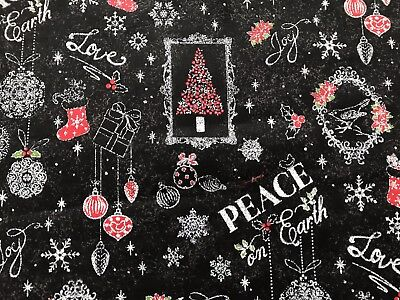Black FQ Fat Quarter Fabric Christmas Peace On Earth 100% Cotton Quilting