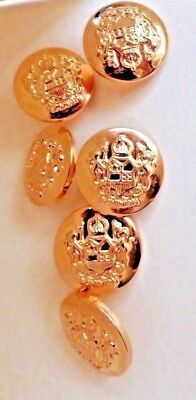 6 Quality Brass Look MILITARY Style Blazer Sport Jacket Coat Buttons 20mm