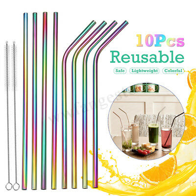 AU 10x Reusable Rainbow Stainless Steel Drinking Straw Straws +4x Cleaning Brush