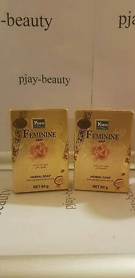 2 x YOKO Feminine Soap For Intimate Cleansing Without Irritation 80g. Gold .