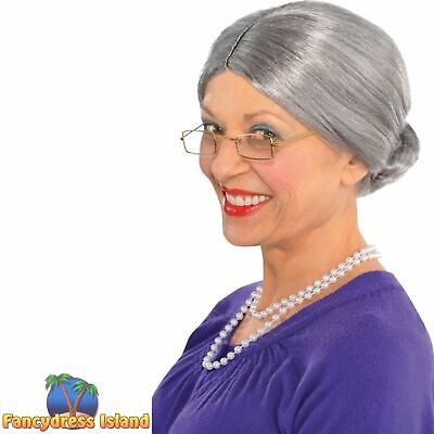 Old Lady Wig Grandma Bun Nan Grandmother Book Day Womens Fancy Dress Costume