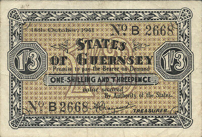Ro.642 1 Shilling / 3 Pence 1941 (3) States of Guernsey