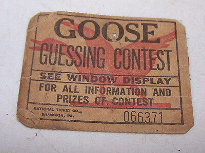 Antique GOOSE GUESSING CONTEST Prize Ticket - How much Corn will Goose Eat