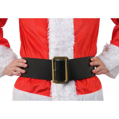 Deluxe Leather Look Santa Claus Belt Gold Buckle Father Christmas Fancy Dress