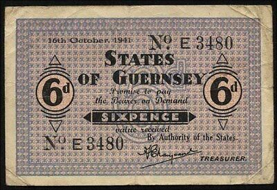 Ro.649 6 Pence 1943 (4) States of Guernsey