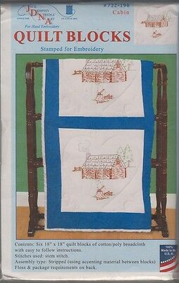 "1 Pk Jack Dempsey ""Cabin"" Stamped Embroidery Quilt Blocks"