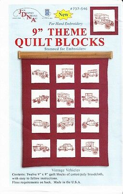 "1 Jack Dempsey ""Vintage Vehicles"" Stamped Embroidery Quilt Blocks"