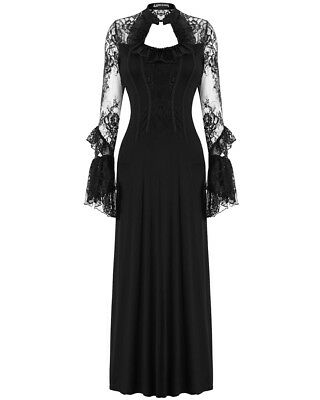 Dark In Love Long Gothic Maxi Dress Black Lace Sleeve Steampunk Victorian Witch