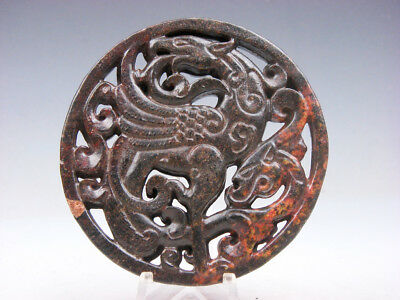 Old Nephrite Jade Stone 2 Sides Carved LARGE Pendant Dancing Phoenix & Dragon
