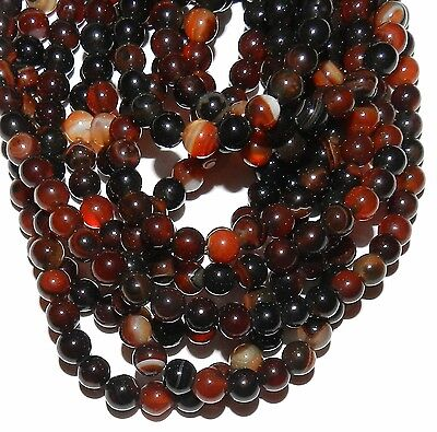 GR128 Red Banded 6mm Round Natural Agate Gemstone Beads 15""
