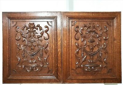 Pair gothic scroll leaves panel Antique french carved wood architectural carving