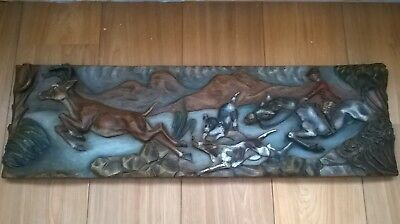 Large Heavy Vintage/Antique carved wooden Wall Plaque/Picture-Hunting Scene