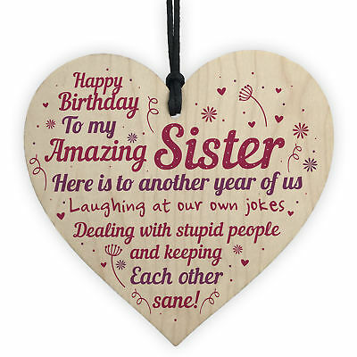 Funny Birthday Gifts For Sister Handmade Wooden Heart Gift From Brother Family