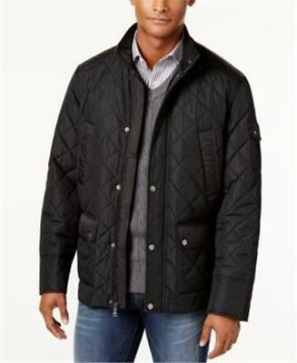 New Mens Sean John Quilted Black Jacket Coat Size L Xl 1630My Zip Up Packable