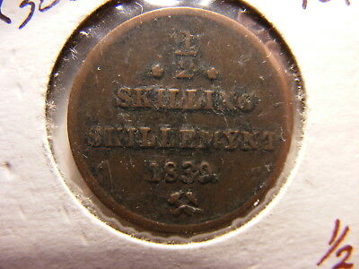 Norway 1839 1/2 Skilling, KM#305.1, First Year of Type, Fine maybe a little more
