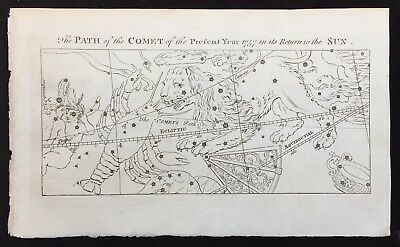"""Halley's Comet 1757 Engraving """"The Path of the Comet of the Present Year 1757"""""""
