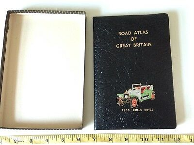 RETRO VINTAGE 1909 Rolls Royce Classic Car BLACK GOLD LEATHER ROAD MAP BOOK NEW