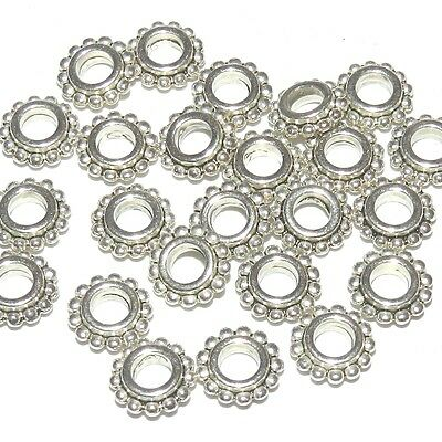 MB7172 Antiqued Silver 8mm Flower Dotted Rondelle Metal Alloy Bead 24pc