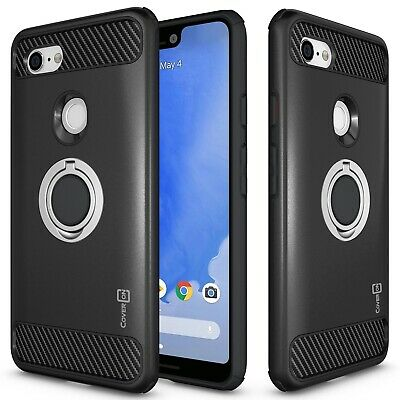 Black Phone Case For Google Pixel 3 XL Tough Hard Cover w/ Grip Ring Stand