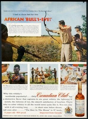 1956 Fred Bear photo archery bow hunting Africa Canadian Club vintage print ad