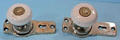 PAIR ANTIQUE WHITE PORCELAIN THUMB LOCK DOOR KNOBS w/PLATES  PATENT 1876