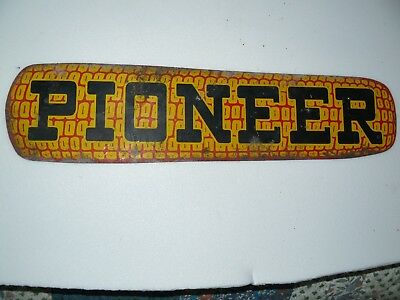 Pioneer Corn Cob Metal Sign 13 1/2 X 3 1/2 1930's J.v. Patton Co. See Pictures