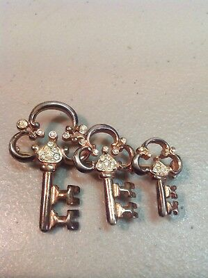 Vintage ART DECO WENTZ CREATION STERLING PIN Triple SKELETON KEYS