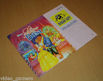 PAL Exclusive Disney's BEAUTY AND THE BEAST Nintendo NES game MANUAL ONLY