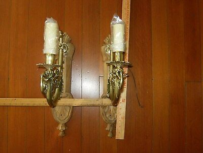 Pair antique hand cast brass carved wood backplate wall sconces restored electri