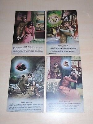 """1916 WW1 Set Of 4 Bamforth Song Postcards 'Blue Bell"""" Soldier Killed+Girlfriend"""