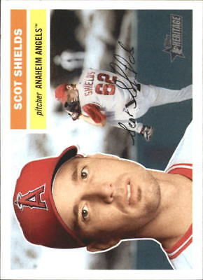 2005 Topps Heritage White Backs Anaheim Angels Baseball Card #65 Scot Shields