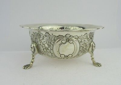 Heavy Silver Bowl Decorated With Swan & Wolf, Lion Mask Legs, Birmingham 1909