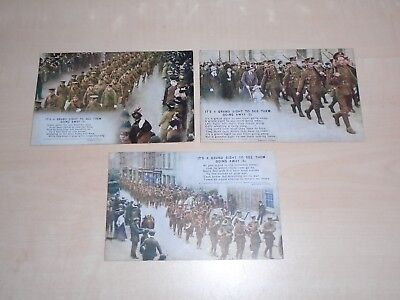 c1914 WW1 Set Of 3 Bamforth Song Cards Its A Grand Sight To See Them Going Away