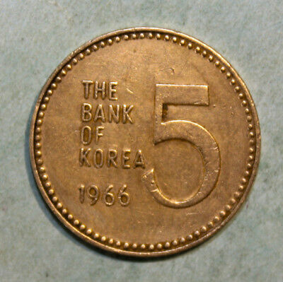 South Korea 5 Won 1966 Extremely Fine + Bronze Coin