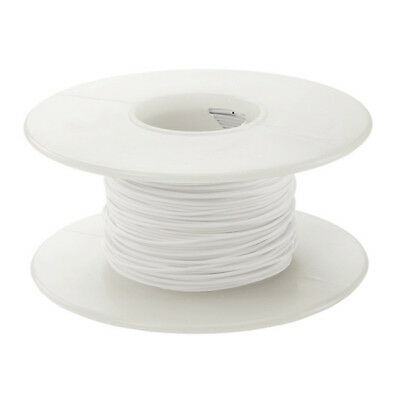 100ft 28ga 28awg White Stranded Teflon Silver Coated TFE Wire Hook Up 100'