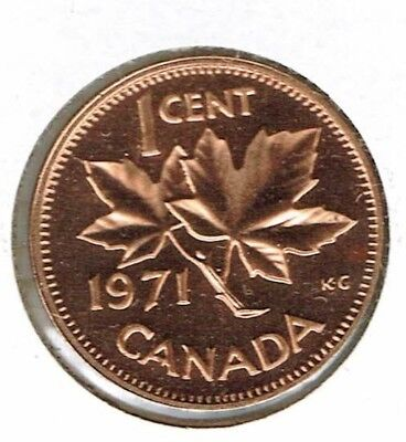 1971 Canadian Proof-Like One Cent Elizabeth II Coin!