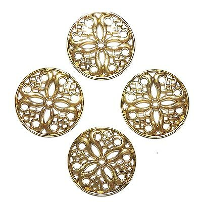 ML5114 Antiqued Gold 24mm Flower Round Link Metal Jewelry Component 25pc