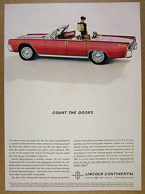 1962 Lincoln Continental Convertible red car photo vintage print Ad