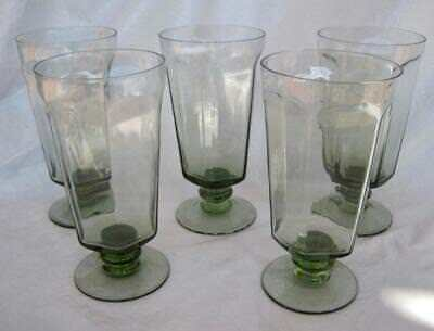 "Lot of 5 Lenox Antique Pale Green Iced Tea Glass 6 5/8"" Panel Hand Blown Vintage"