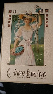 """""""A Happy Birthday"""" embossed postcard, woman with basket germany"""