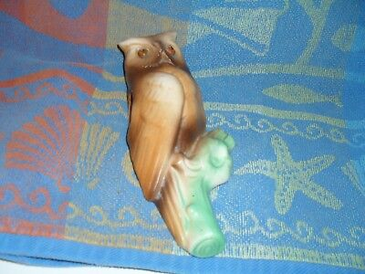 Vintage owl pottery wall pocket, 7 inches, tan and white with green branch