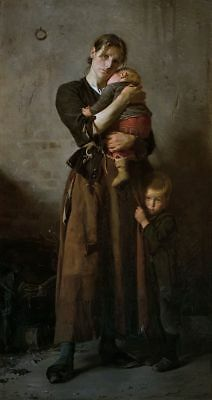 """perfect oil painting handpainted on canvas """"a woman and her children""""@NO9764"""
