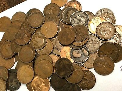 100 x Vintage British Large One Penny, UK copper Pennies Victoria to QEII lot#92