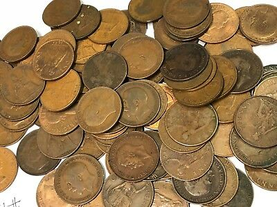 100 x Vintage British Large One Penny, UK copper Pennies Victoria to QEII lot#93